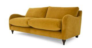 Golden Yellow Velvet 3 Seater Sofa